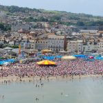 Weymouth sailing Olympics, crowds watch and celebrate Gold and Silver wining Olympic sailors