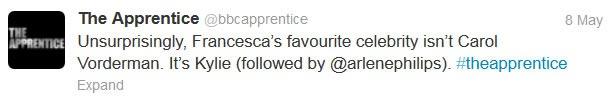 Apprentice Tweet