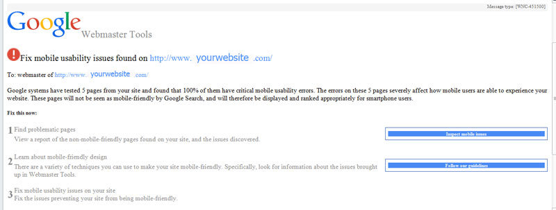 E-mail from google.