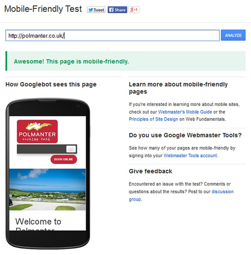 Mobile friendly test pass