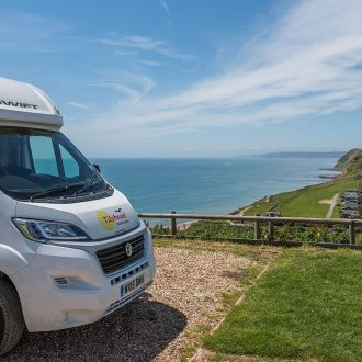 Camping with a view across Lyme Bay