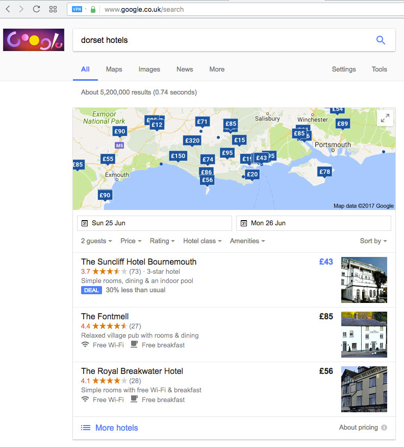 Google Map showing hotel prices.