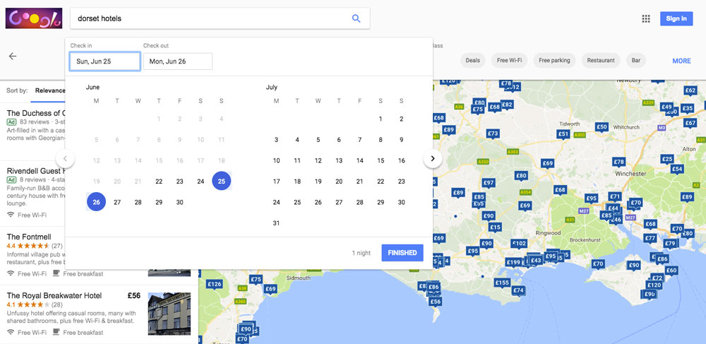 Google Maps hotel date selector.