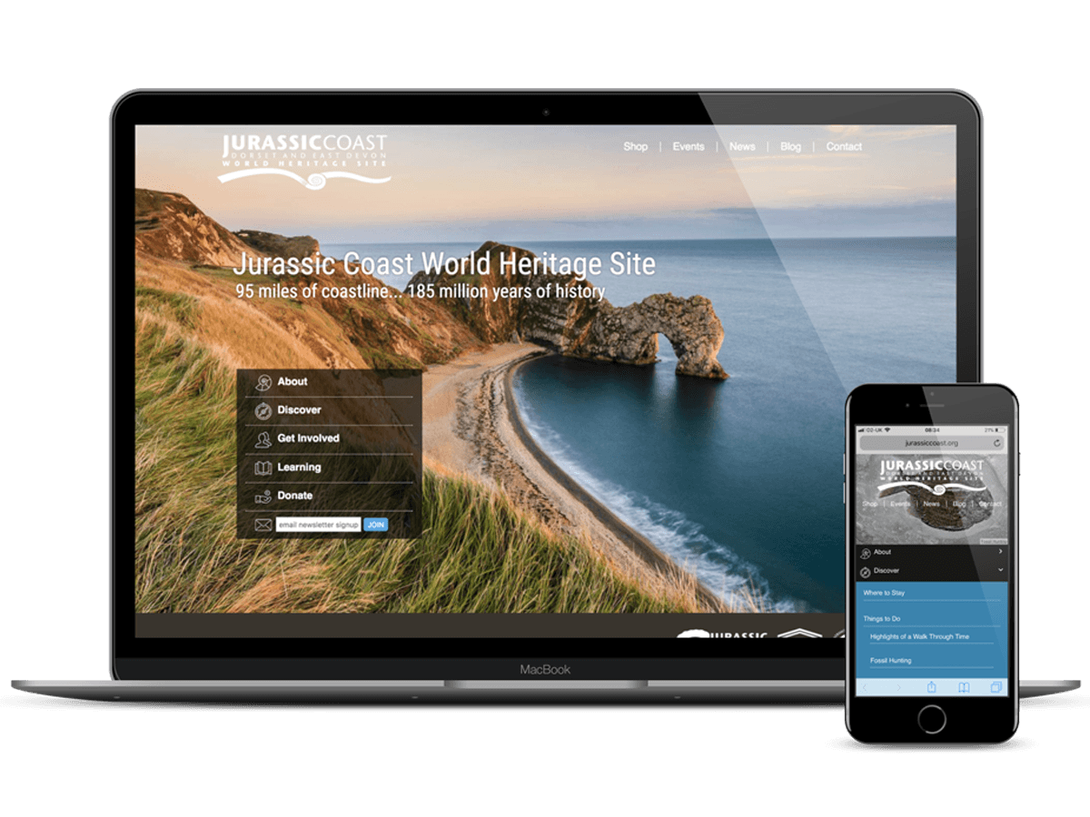 Jurassic Coast World Heritage Mobile Responsive Website