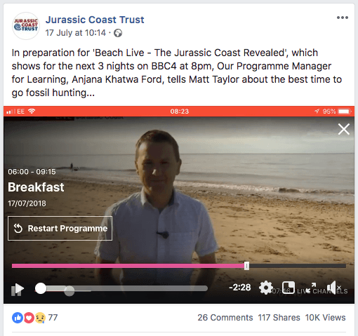 Jurassic Coast Facebook video post showing their TV exposure