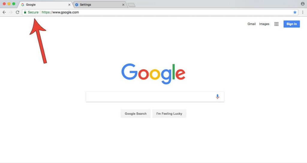 Screenshot of Google homepage showing a secure connection