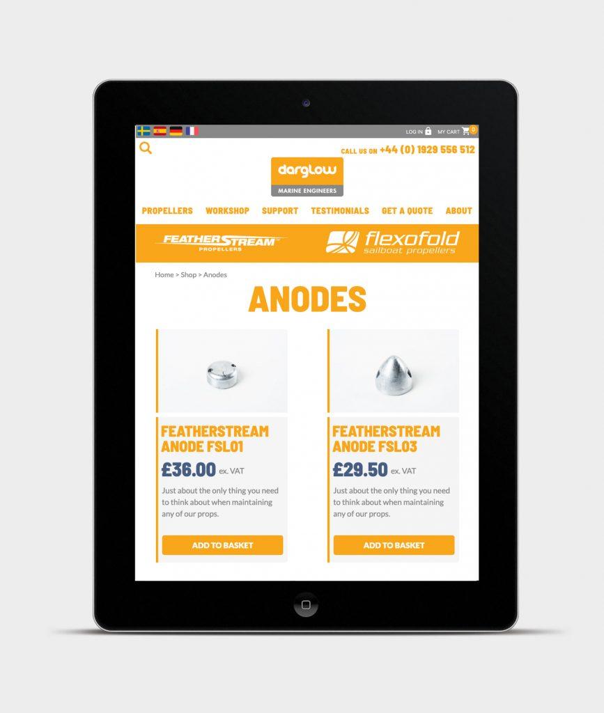 Darglow Engineering website on iPad