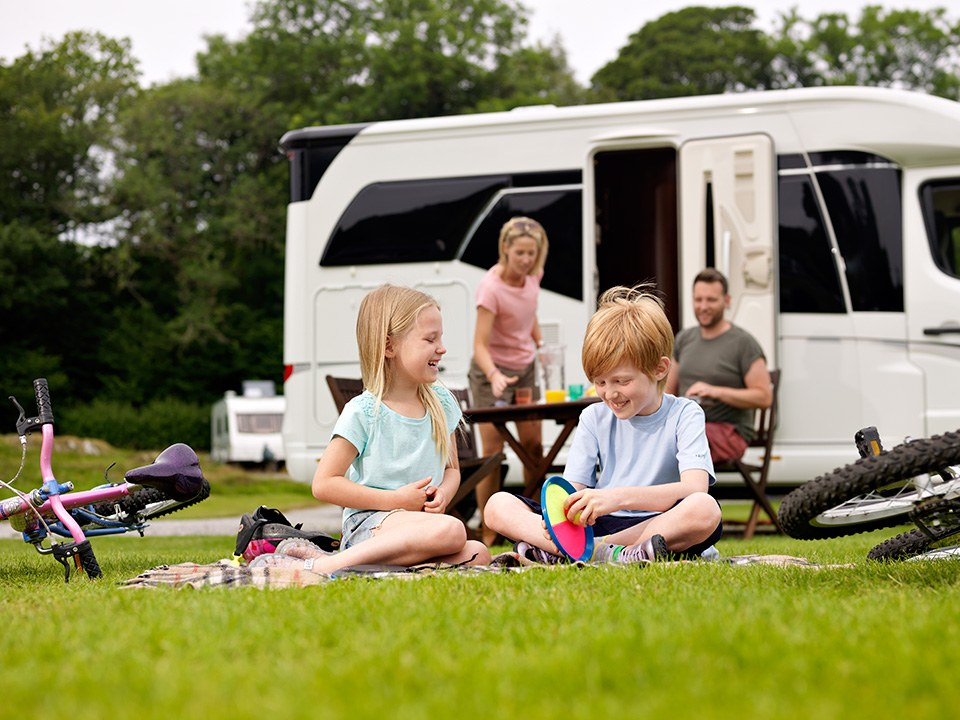 family enjoying caravan holiday at park cliffe in windermere lake district