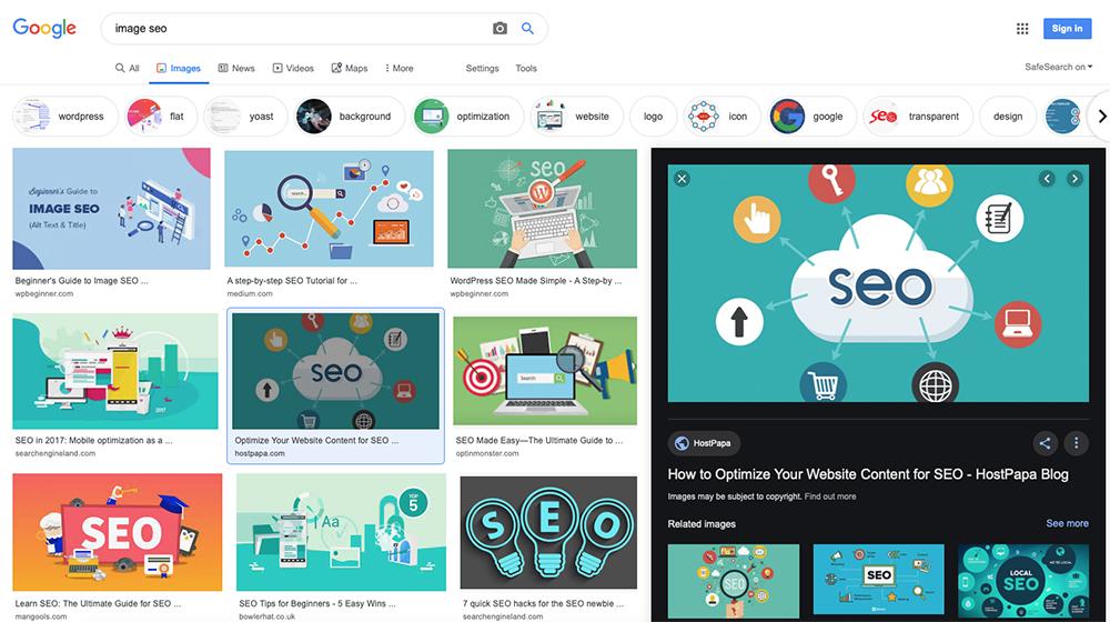 google image search preview box
