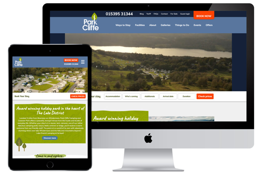 Park Cliffe - responsive holiday park website - key digital