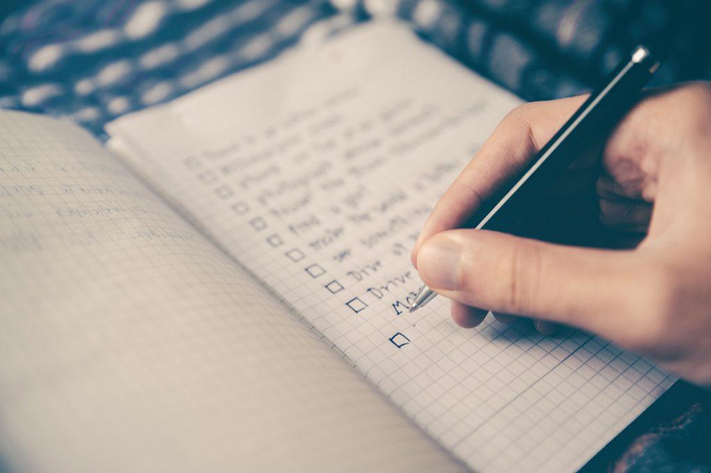 handwritten lockdown relaunch checklist