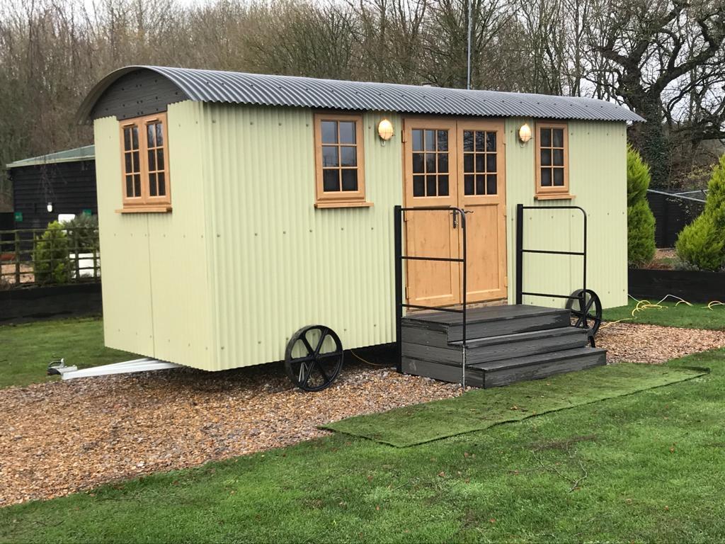 shepherd's hut south lytchett manor campsite in dorset