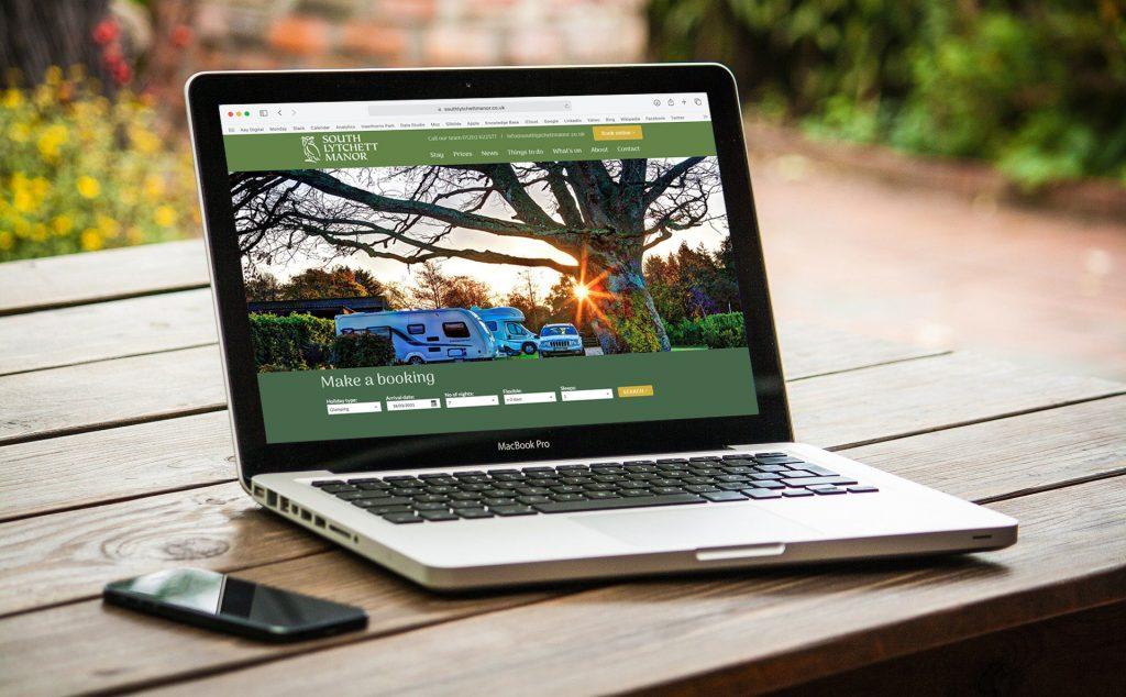 south Lytchett manor website displayed on laptop