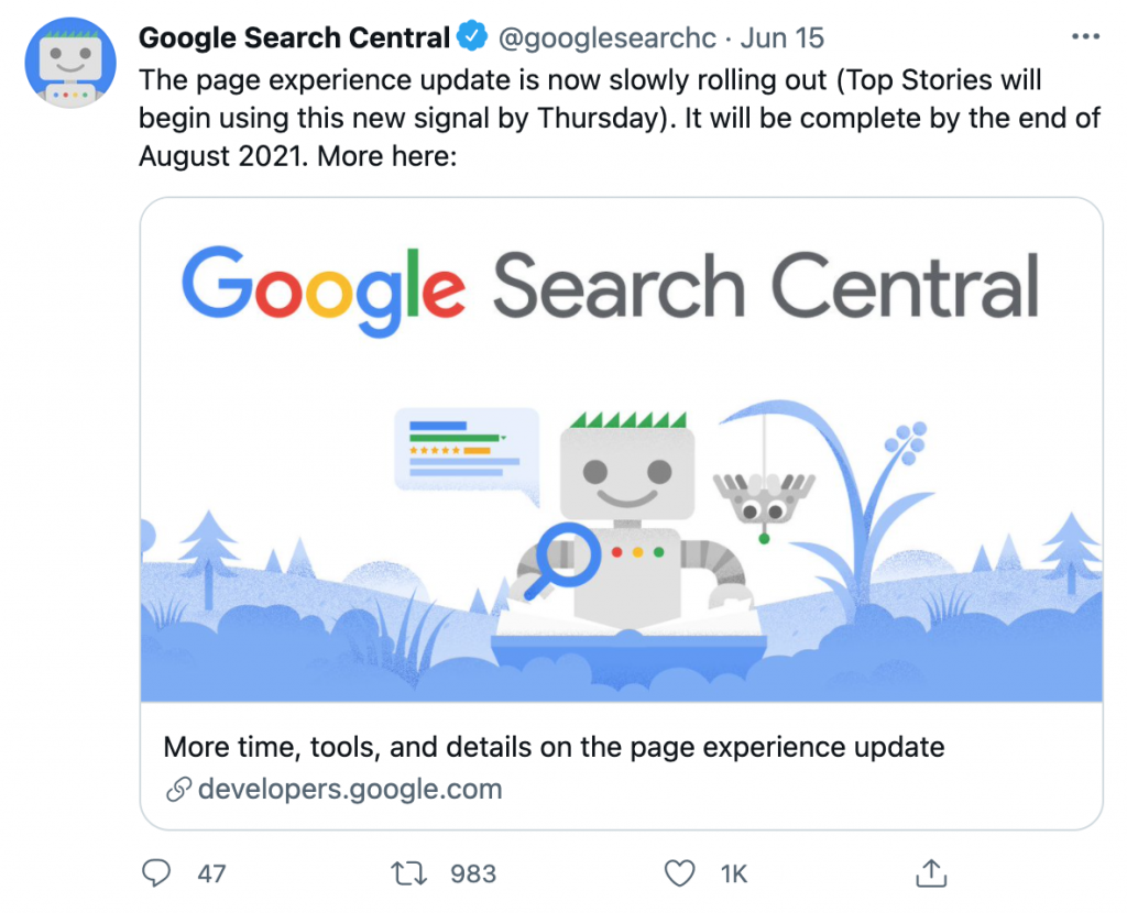 Google Core Web Vitals - Twitter